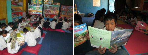 完成した図書室では、子どもたちが現地語で書かれた新しい本を熱心に読んでいます。